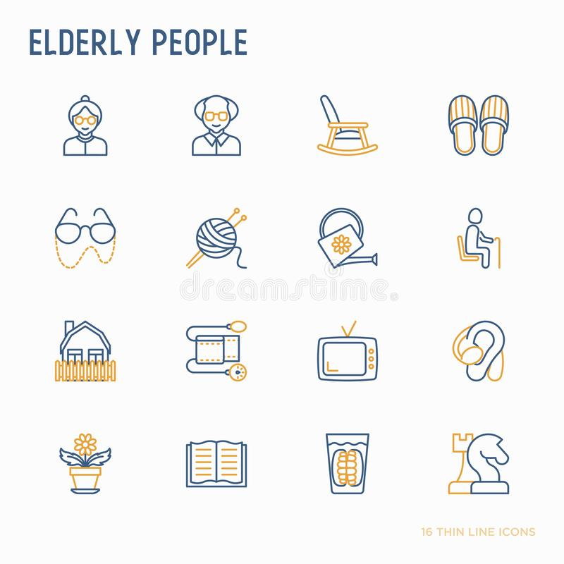 Престарелая тонкая линия набор значков: бабушка, дед, стекла, тапочки, вязать, кресло-качалка, слуховой аппарат, цветки, r иллюстрация вектора