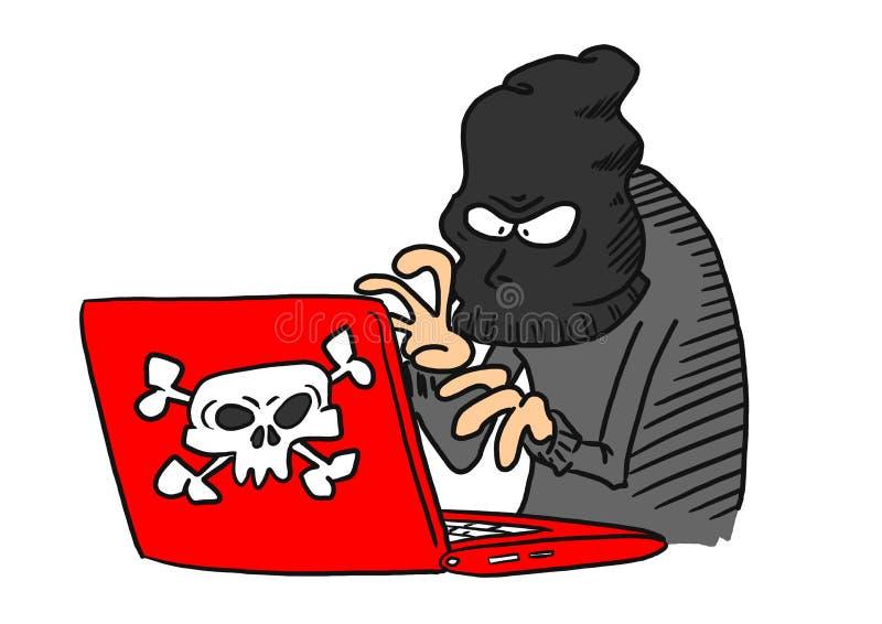 Преступник кибер на компьютере стоковое изображение rf