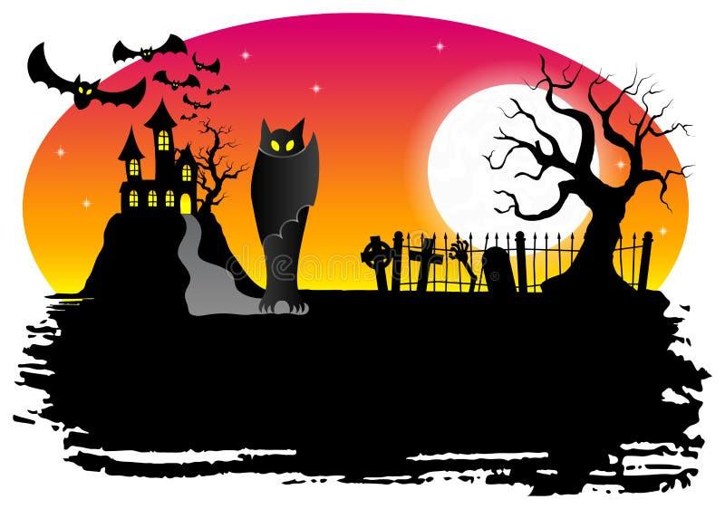 Преследовать замок с летучими мышами бесплатная иллюстрация