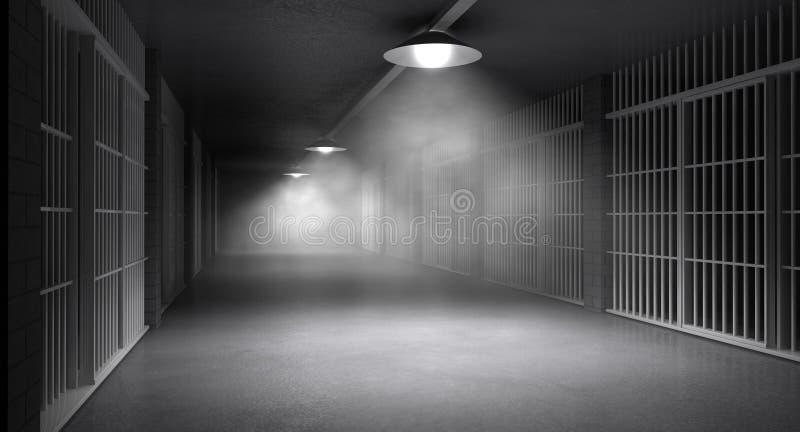 Преследовать коридор и клетки тюрьмы стоковые фотографии rf