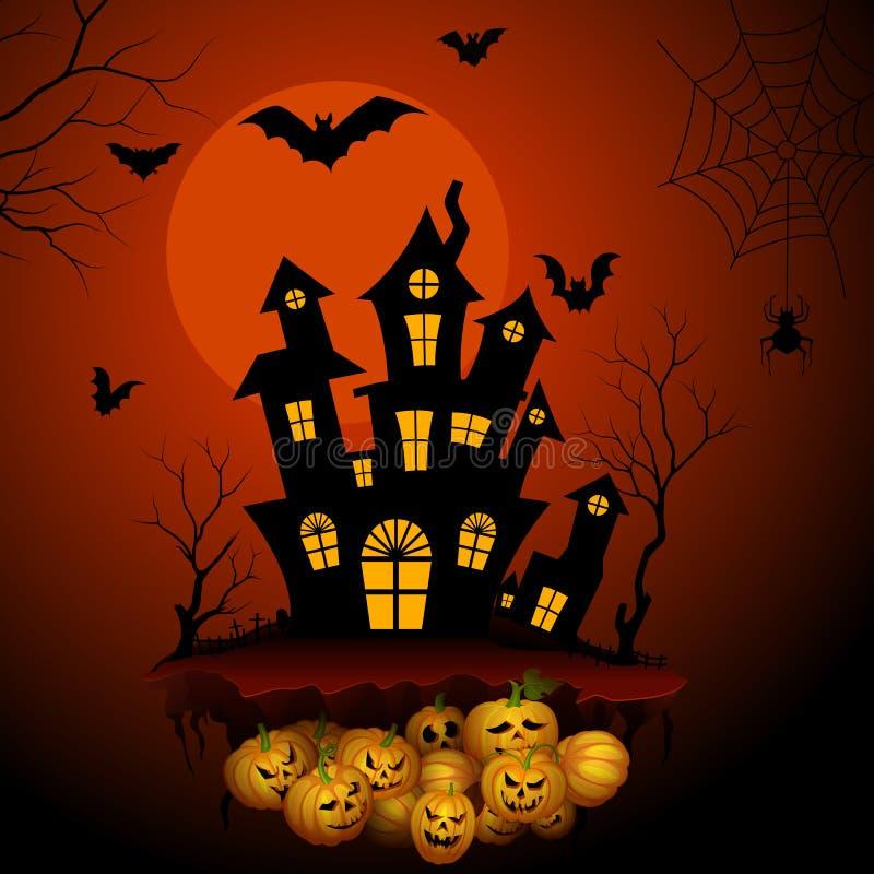 Преследовать дом ужаса в ноче хеллоуина иллюстрация штока