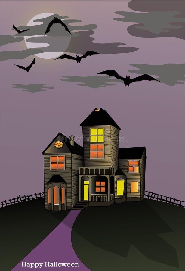 Download Преследовать дом хеллоуина иллюстрация вектора. иллюстрации насчитывающей страх - 33739056