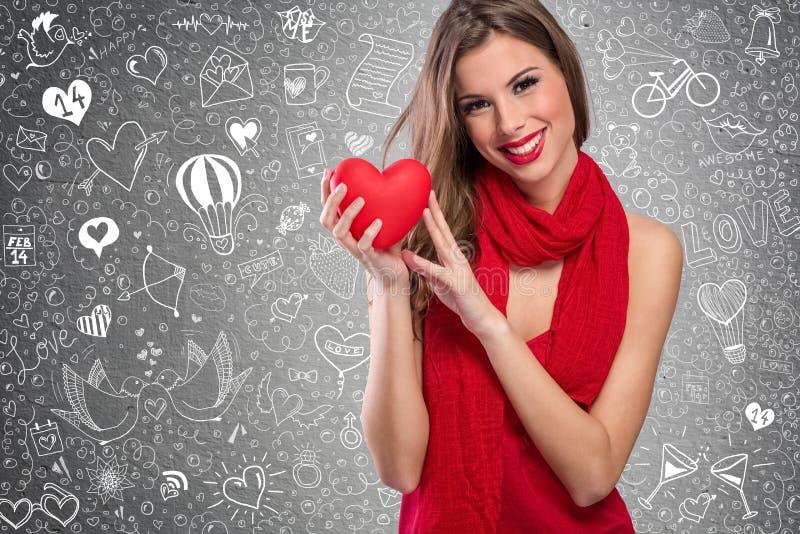 Прелестная женщина Valentine's стоковые изображения rf