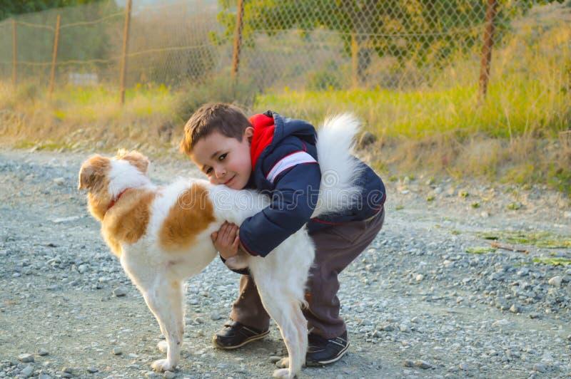 Прелестный мальчик играя с собакой в саде стоковая фотография rf