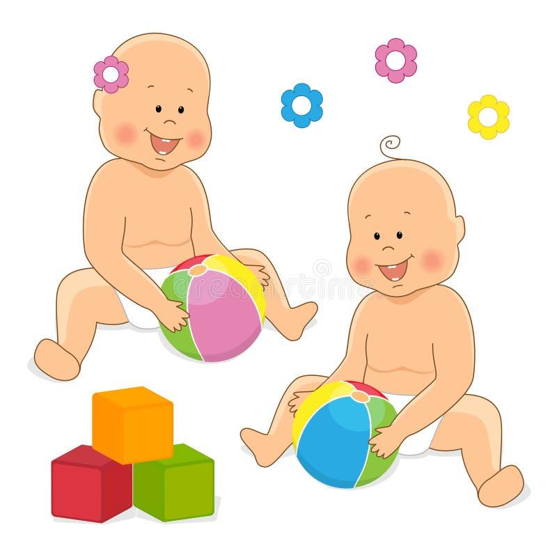 Download Прелестный младенец играя 2 Иллюстрация штока - иллюстрации насчитывающей браслетов, ballooner: 33728130