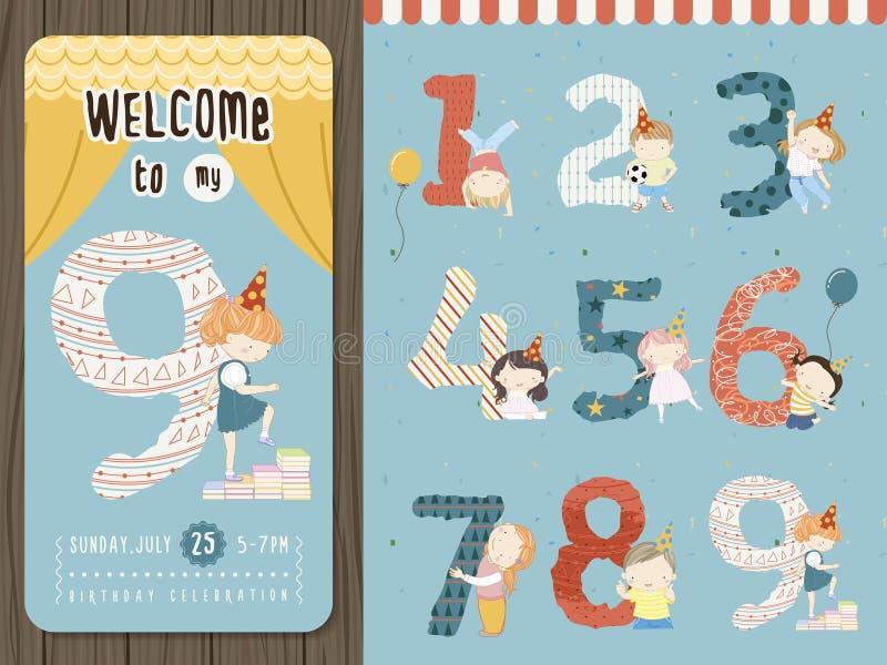 Прелестный шаблон приглашения вечеринки по случаю дня рождения шаржа бесплатная иллюстрация