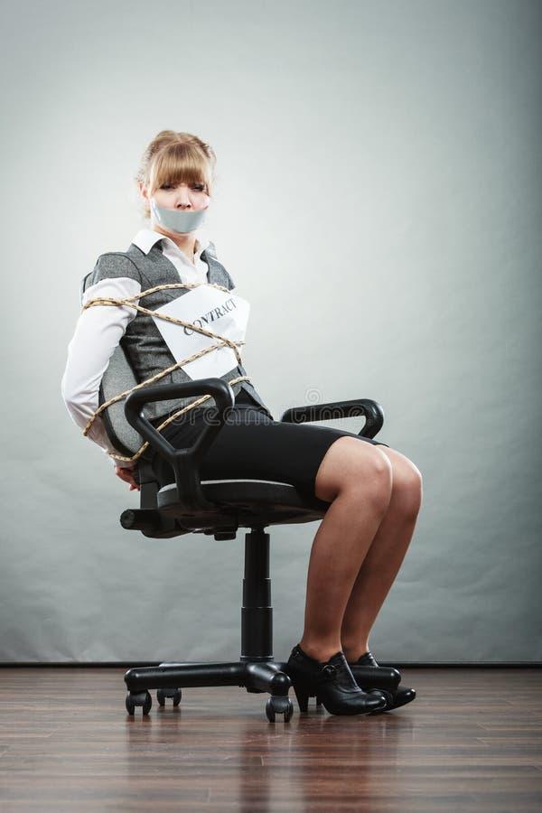 Businessman slave with bondage collar stock footage photo