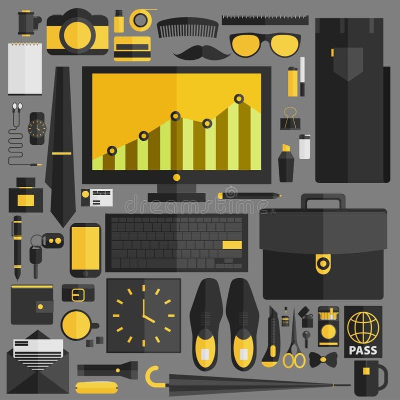 Предметы первой необходимости бизнесмена Оборудование потока операций офиса с различным o иллюстрация вектора