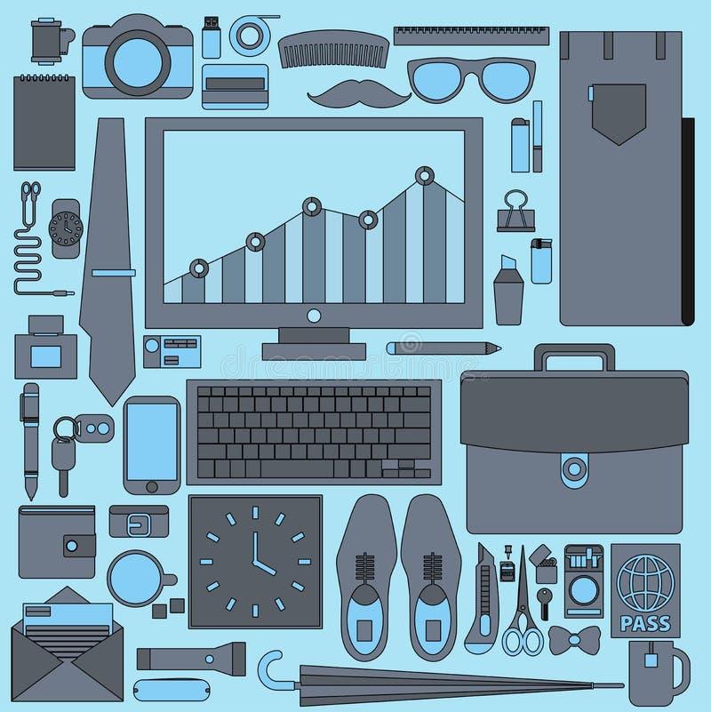 Предметы первой необходимости бизнесмена Оборудование потока операций офиса с различным o иллюстрация штока
