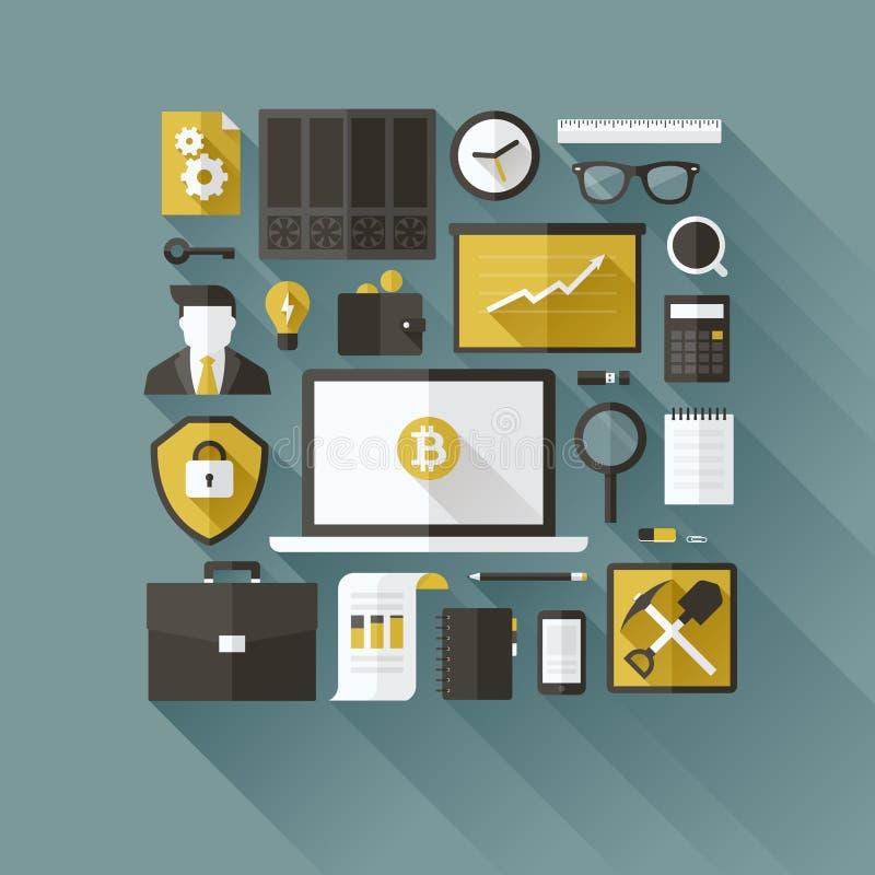 Предметы первой необходимости Bitcoin. Плоские элементы дизайна вектора бесплатная иллюстрация
