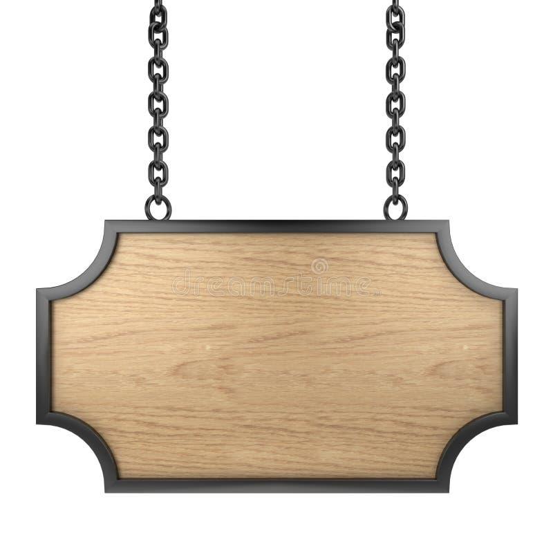 предмет над деревянным signboard белое иллюстрация вектора