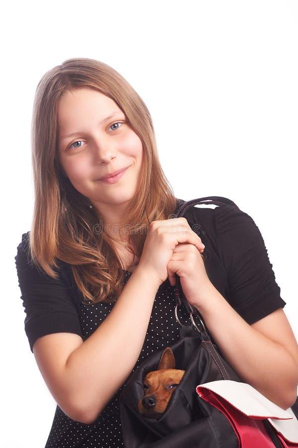 Предназначенная для подростков девушка с собакой в сумке стоковое изображение