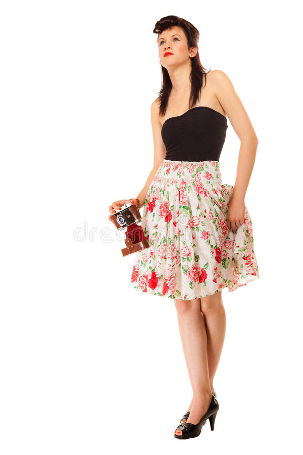 Предназначенная для подростков девушка с старой камерой стоковые фото