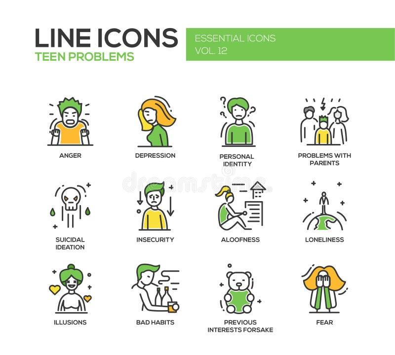 Предназначенная для подростков линия установленные значки проблем дизайна иллюстрация вектора
