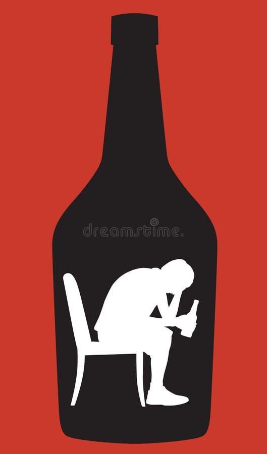 Предназначенный для подростков силуэт алкоголички мальчика иллюстрация вектора