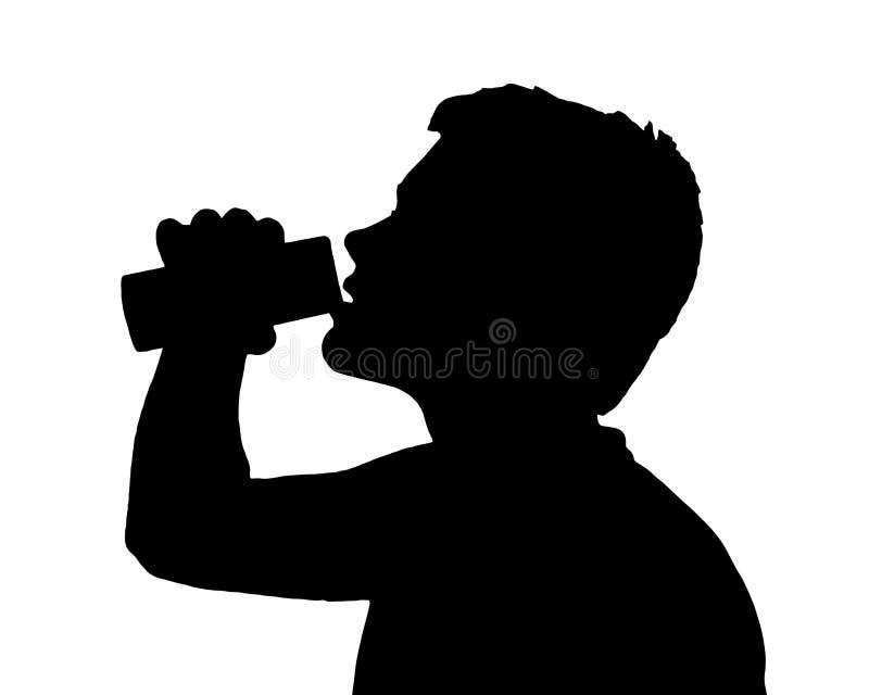 Предназначенный для подростков силуэт мальчика выпивая от чонсервной банкы бесплатная иллюстрация