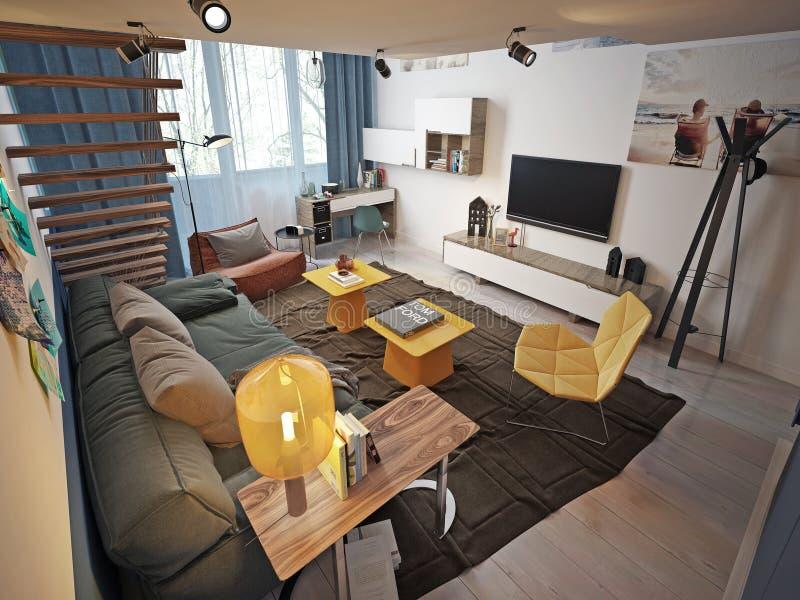 Предназначенный для подростков современный стиль комнаты стоковые фотографии rf
