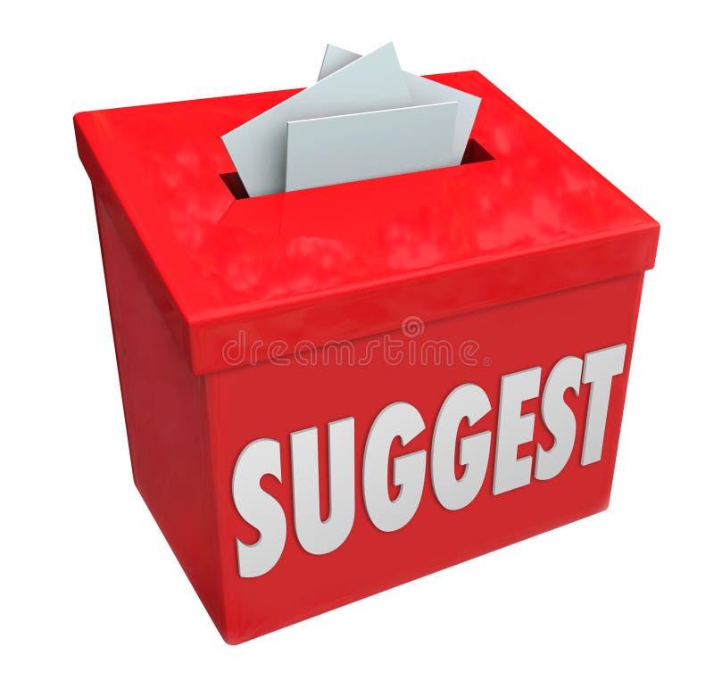 Предложите обратную связь предложений комментариев идей коробки представления слова иллюстрация вектора
