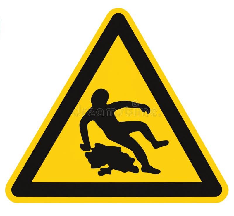 Предосторежение скользкое когда влажный знак текста, черный желтый цвет изолировал Signage значка безопасности треугольника опасн стоковая фотография rf