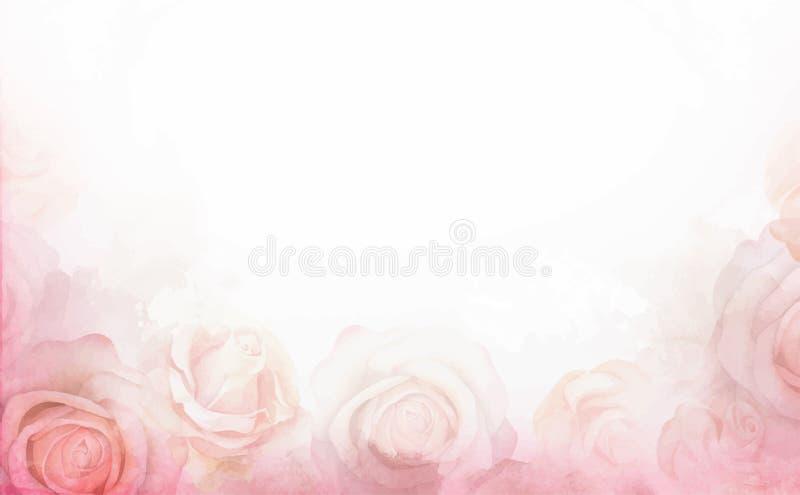 Предпосылка абстрактной романтичной розы горизонтальная Шаблон чувствительного дизайна для поздравительных открыток и приглашений бесплатная иллюстрация
