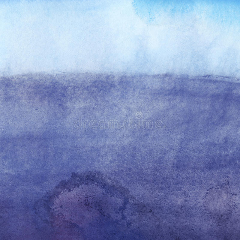 Предпосылка акварели, голубое небо, облака иллюстрация штока