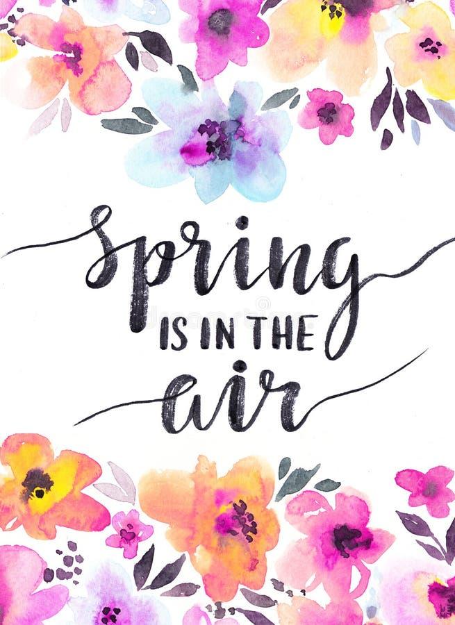 Предпосылка акварели флористическая с нежными цветками Карточка дизайна весны бесплатная иллюстрация