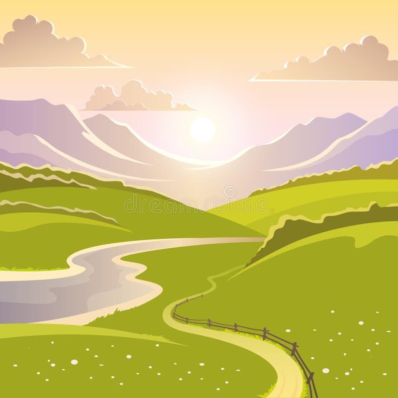 Предпосылка ландшафта горы иллюстрация штока
