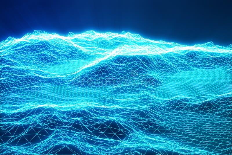 предпосылка ландшафта иллюстрации 3D Решетка ландшафта виртуального пространства технология 3d Абстрактный голубой ландшафт на че бесплатная иллюстрация