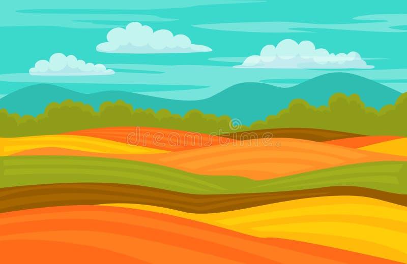 Предпосылка ландшафта полей падения осени красочная милая иллюстрация вектора