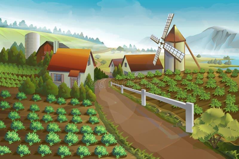 Предпосылка ландшафта фермы сельская иллюстрация вектора