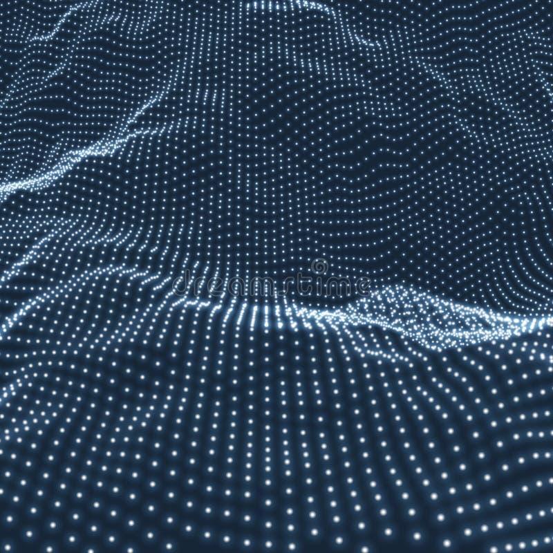 Предпосылка ландшафта Футуристический ландшафт с сияющей решеткой Низкая поли местность местность 3D Wireframe Предпосылка сети а иллюстрация вектора