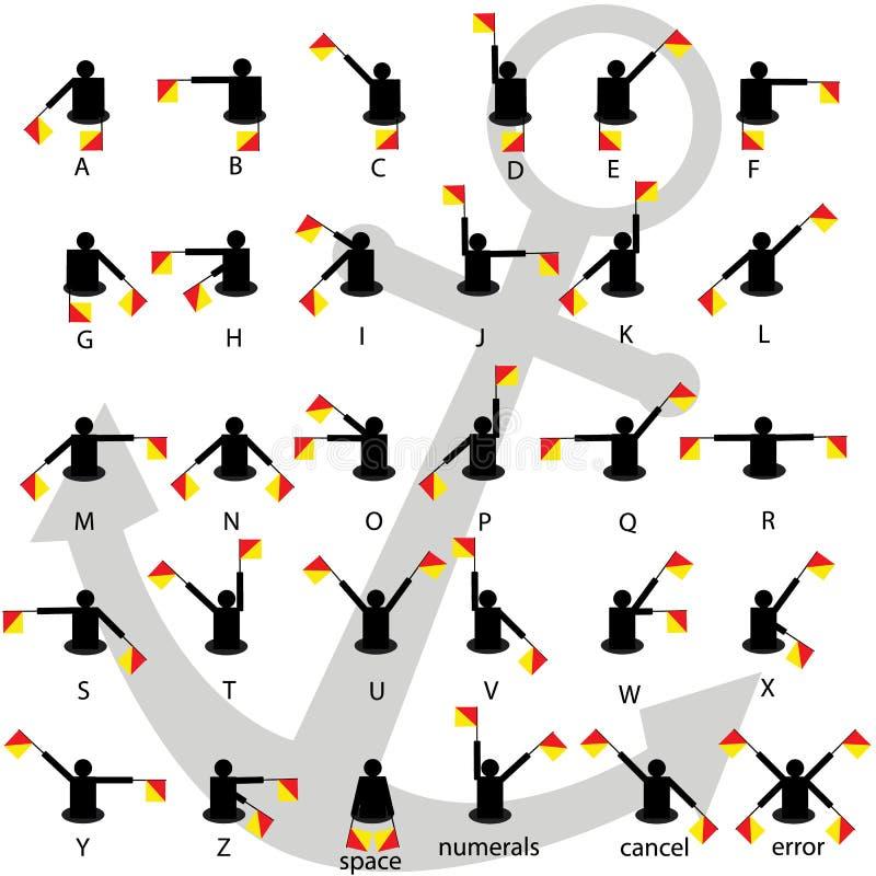 Предпосылка алфавита сигналов флажками семафора белая с вектором анкера иллюстрация вектора