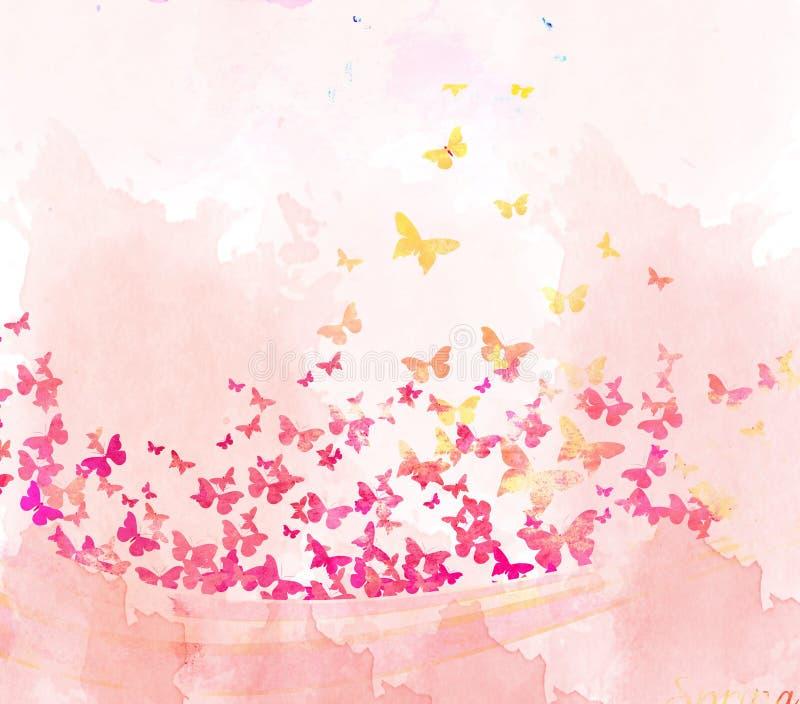 Предпосылка бабочек акварели бесплатная иллюстрация
