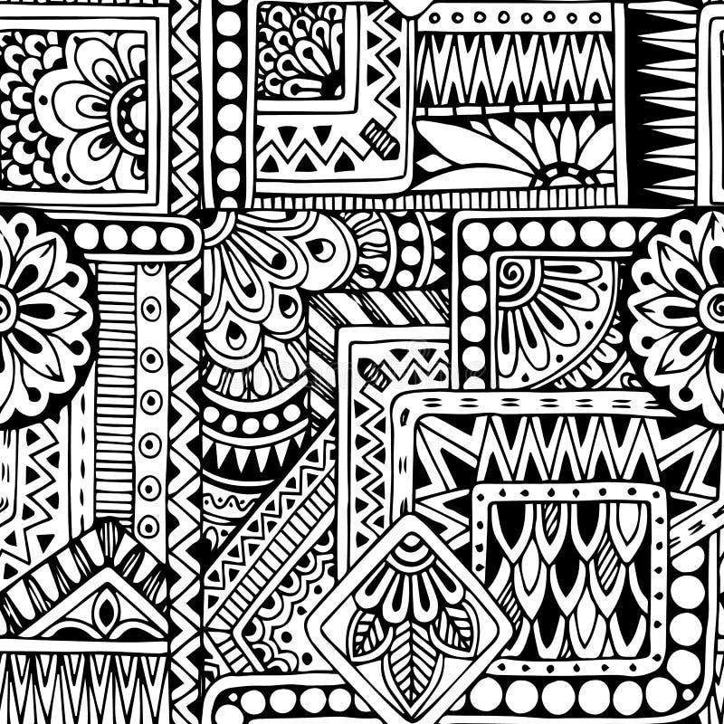 Предпосылка безшовного флористического doodle черно-белая бесплатная иллюстрация