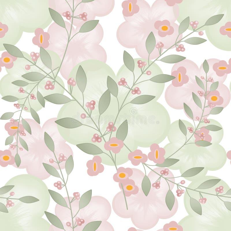 Предпосылка безшовной флористической картины ягоды бежевая белая бесплатная иллюстрация