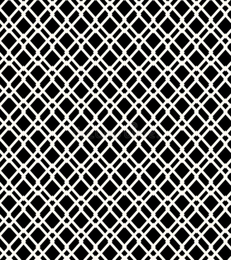 Предпосылка безшовной черно-белой геометрической картины плетения grating иллюстрация вектора