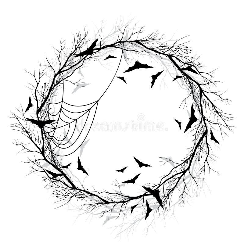 Предпосылка белизны венка хеллоуина вектора бесплатная иллюстрация