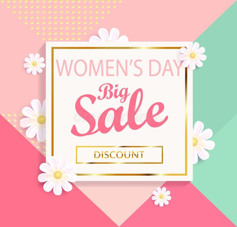 Предпосылка большой продажи дня ` s женщин геометрическая иллюстрация вектора