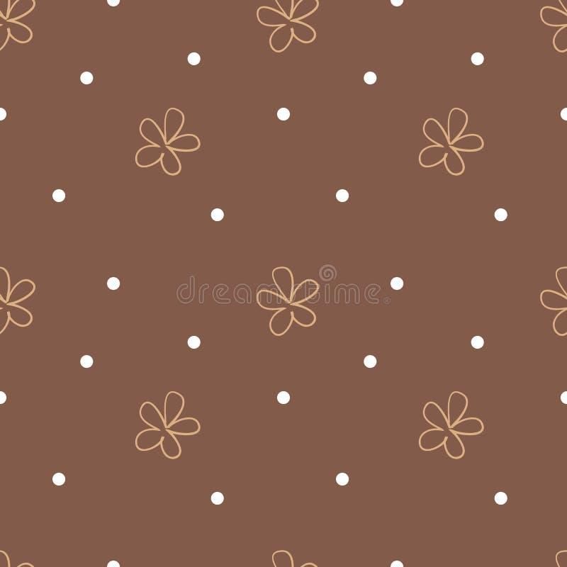 Предпосылка Брайна безшовная с бежевыми цветками и белыми точками милая флористическая картина иллюстрация вектора