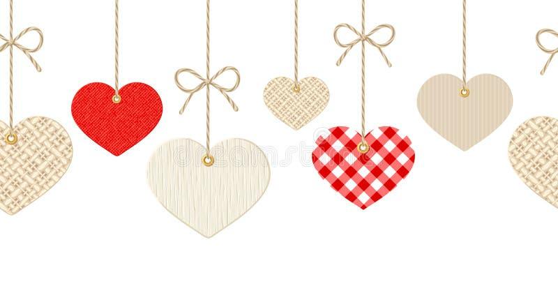 Предпосылка валентинок горизонтальная безшовная с сердцами смертной казни через повешение бесплатная иллюстрация