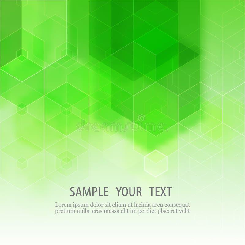 Предпосылка вектора абстрактная геометрическая Дизайн брошюры шаблона Зеленая форма шестиугольника иллюстрация штока