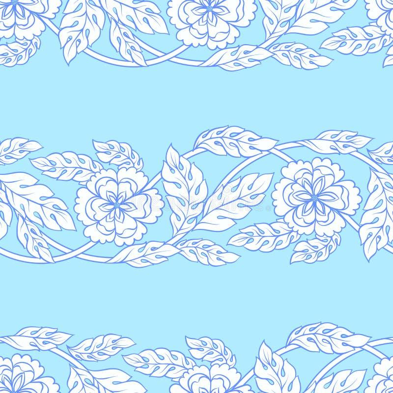 Предпосылка вектора безшовная с границами Затейливый орнамент сделанный из переплетенных цветков бесплатная иллюстрация