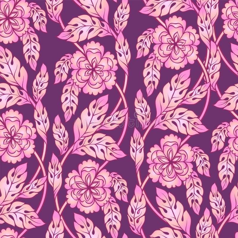 Предпосылка вектора безшовная с флористическими ветвями Затейливый орнамент сделанный из переплетенных цветков иллюстрация вектора