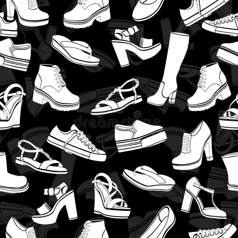 Предпосылка вектора ботинок, безшовная картина Белые сандалии, ботинки, низкий ботинок, тапочки балета, gumshoes, высотой с колен иллюстрация вектора