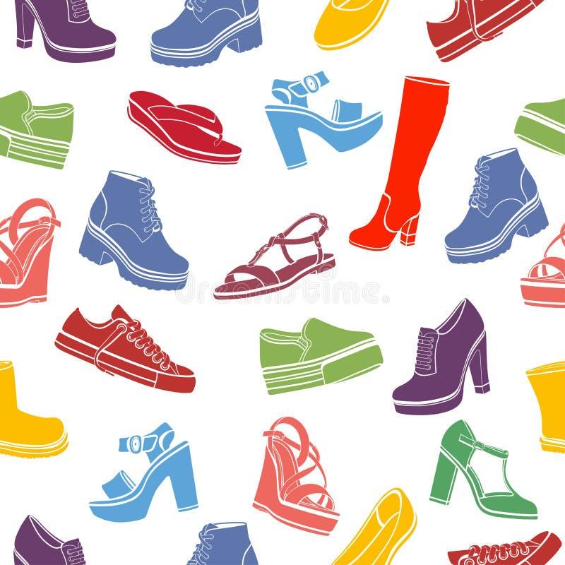 Предпосылка вектора ботинок, безшовная картина Пестротканые сандалии, ботинки, низкий ботинок, тапочки балета, высокий ботинок, g иллюстрация штока