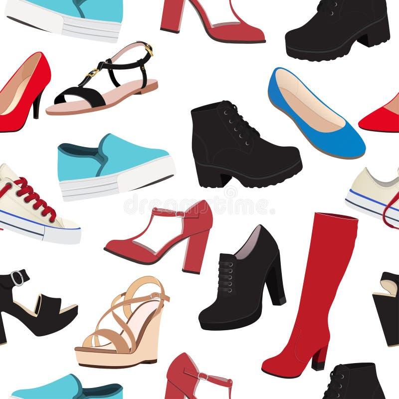 Предпосылка вектора ботинок, безшовная картина Пестротканые сандалии, ботинки, низкий ботинок, тапочки балета, высокий ботинок, g иллюстрация вектора