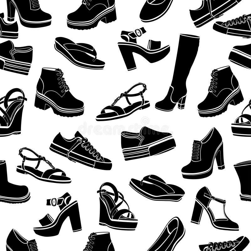Предпосылка вектора ботинок, безшовная картина Черные сандалии, ботинки, низкий ботинок, тапочки балета, gumshoes, высотой с коле бесплатная иллюстрация