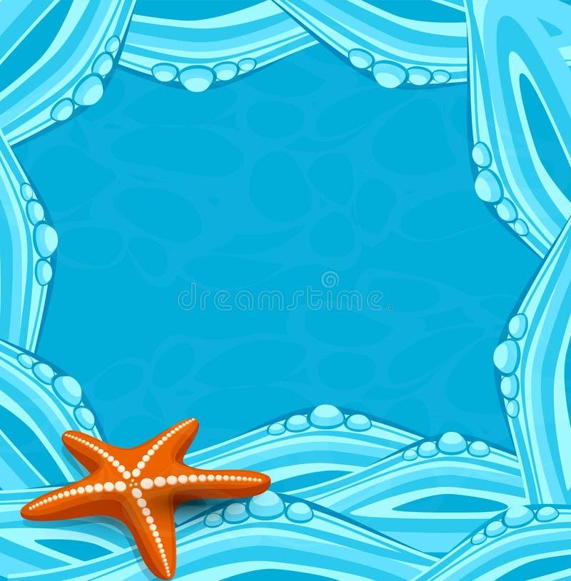Предпосылка вектора голубая с океанскими волнами и starfi иллюстрация штока