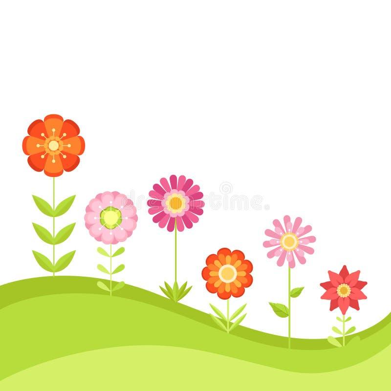 Предпосылка вектора лета флористическая с цветками сада Иллюстрация в плоском стиле иллюстрация вектора