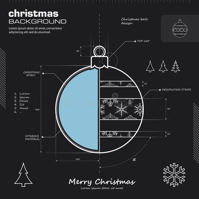 Предпосылка вектора дизайна шарика рождества бесплатная иллюстрация